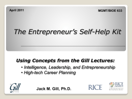 Jack Gill`s Entrepreneur Self-Help Kit