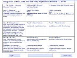 Integration of Motivational Enhancement Therapy (MET), Cognitive
