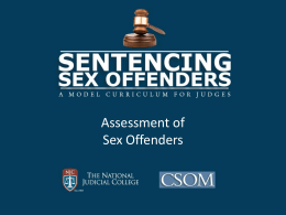 Module Two – Assessment of Sex Offenders