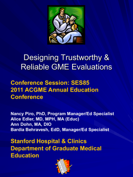 Designing GME Evaluations