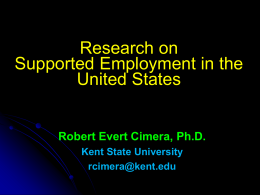 The Economics of Supported Employment: What We Know, Thought