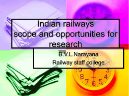Indian railways scope and opportunities for research