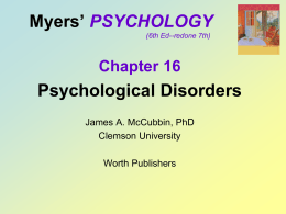 Chpt.14 & 15 Psychological Disorders & Treatment