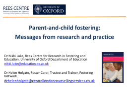 Parent and child fostering - REES Centre