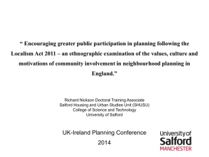 Encouraging greater public participation in planning following the
