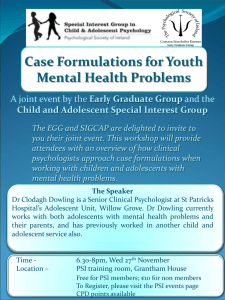 Case Formulations for Youth Mental Health Problems