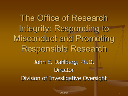 Integrity in the Name of Research