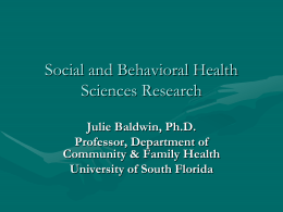 Social and Behavioral Health Sciences Research