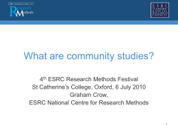 Community Studies - the NCRM EPrints Repository