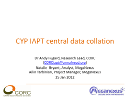 CYP IAPT central data collation 2012