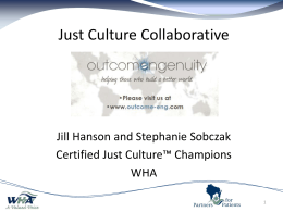 Just Culture 35 56% - WHA Quality Center