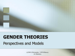 Gender Theories Lecture 3