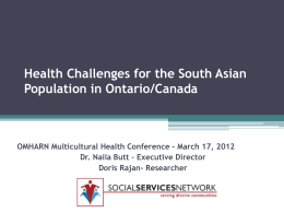 Health Challenges for the South Asian Population in Ontario