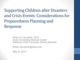 Supporting Children after Disasters and Crisis