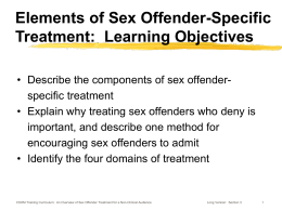 Learning Objectives - Center for Sex Offender Management
