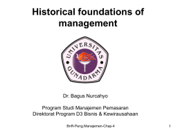 Chapter 4: Historical Foundations of Management