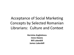 Accepting of Social Marketing Concepts by Selected Romanian