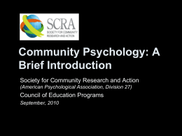 What is Community Psychology? Powerpoint Presentation