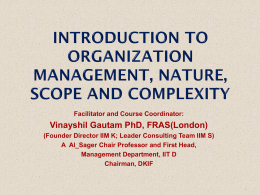Introduction to Organization Management, Nature, Scope and