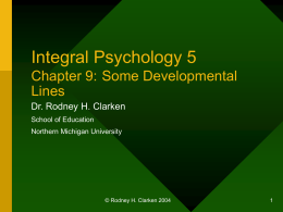 Integral Psychology 5: Some Developmental Lines