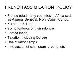 FRENCH ASSIMILATION POLICY