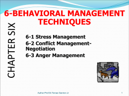 Chapter 6-Behavioral Management