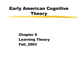Early American Cognitive Theory