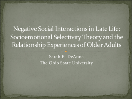 Negative Social Interactions in Late Life: Socioemotional