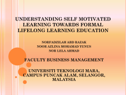 understanding self motivated learning toward formal lifelong