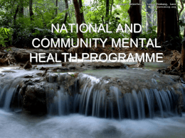 national and community mental health programme