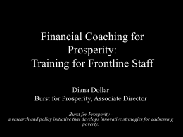Financial Coaching for Prosperity: Training for Frontline Staff