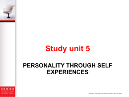 PERSONALITY THROUGH SELF EXPERIENCE