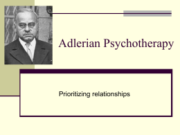 """adlerian therapy reflection paper """"reflecting 'as if': an integrative process in couples counseling"""" by richard e watts, the family journal: counseling and therapy for couples and families , january 2003 """"adlerian therapy as a relational constructivist approach"""" by richard e watts, the family journal: counseling and therapy for couples and families , april 2003."""