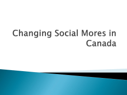 Changing Social Mores in Canada - Grand Erie District School Board