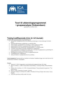 Teoretisk kurs i - Institutt for gruppeanalyse