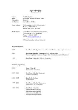 CV - Institutet för Näringslivsforskning