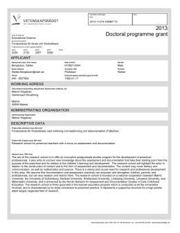 2013 Doctoral programme grant