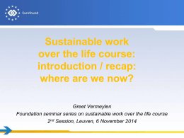Sustainable work over the life course: introduction