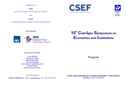 Csef-Igier Symposium on Economics and Institutions Program