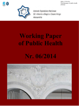 Working Paper of Public Health Nr. 06/2014
