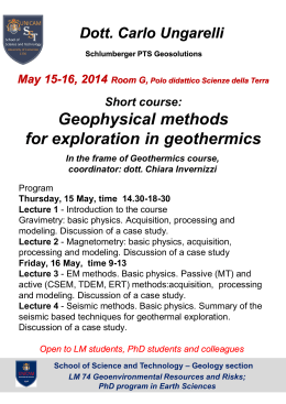 Short course: Geophysical methods for exploration in geothermics