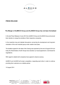 PRESS RELEASE The Merger of ALMECO Group