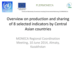 Overview on production and sharing of 8 selected indicators by