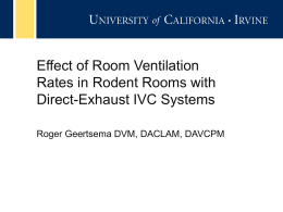 Effect of Room Ventilation Rates in Rodent Rooms with Direct