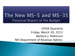 The New MS-5 and MS-35 - New Hampshire Government Finance
