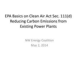 111(d) basics - NW Energy Coalition