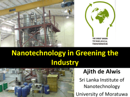 Nanotechnology in greening the industry by Prof. Ajith de Alwis