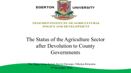 DEVOLUTION - Tegemeo Institute