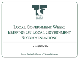 Briefing on Local Government Recommendations
