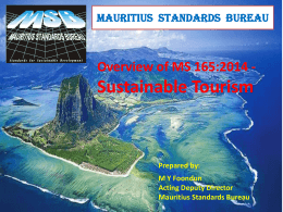Sustainable Tourism-MS 165 - Mauritius Standards Bureau